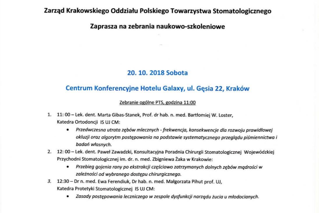 Zebranie Naukowo-Szkoleniowe PTS Kraków