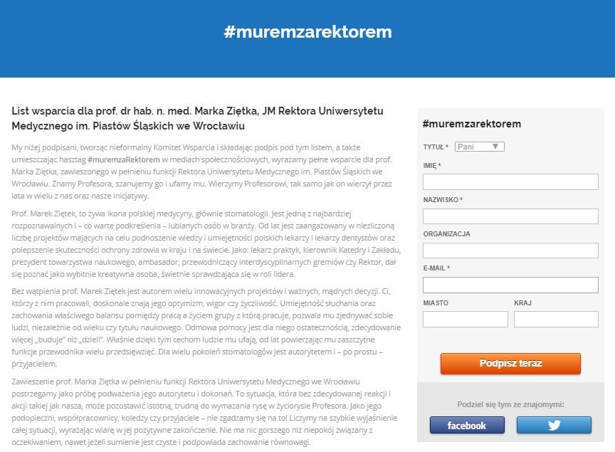 #muremzaRektorem: coraz więcej podpisów pod apelem