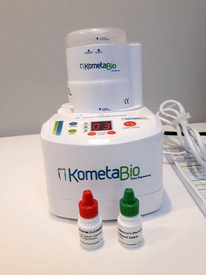Ryc. 8 The Smart DentinGrinder (KometaBio) – młynek do procesowania zębów wraz z roztworem DentinCleanser oraz DPBS